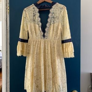 Cream/navy blue Free People dress